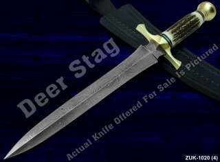 SUPREB A ENTIRELY HANDMADE TWISTED DAMASCUS KNIFE WITH REAL DEER STAG