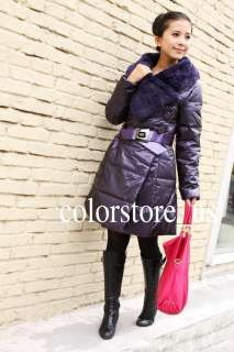 2011 Womens Winter Warm Wrap Fur Collar Slim 90% Duck Thick Long Down