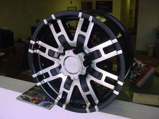 17X8 HELO 835 BLACK WHEELS CHEVY FORD DODGE 8 LUG 6 LUG