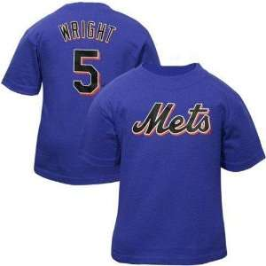Wright (New York Mets) Name and Number T Shirt (Royal) (X Large)   XL