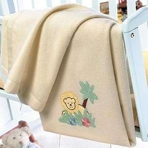 Natalia Cashmere Baby Blanket   Jungle Theme Embroidery