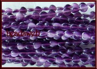 8mm Cats Eye Cats Eye Heart Glass Loose Beads Strand