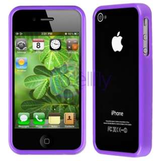 Purple TPU Rubber Case Bumper+2x Privacy Cover For iPhone 4 s 4s 4th
