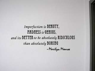 IMPERFECTION IS BEAUTY Vinyl Wall Quote Home Decor Peel & Stick Decal