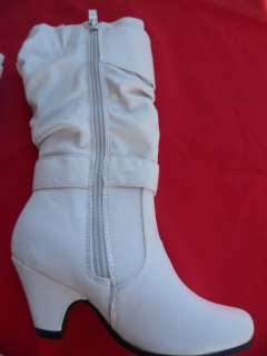 WHITE BOOTS SHOES YOUTH KIDS GIRLS SIZE 9 4