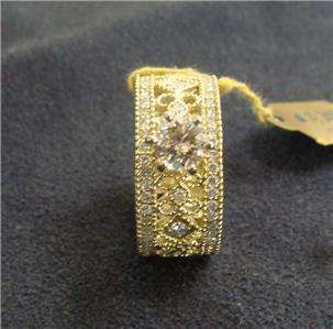 14k Yellow Gold Diamond Solitaire Wide Ornate Wed Band