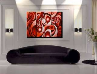 Modern Red Contemporary Abstract Oil Painting Fine Art Wall Deco