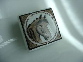 EQUESTRIAN JOCKEY CLUB PORCELAIN HORSE JEWELRY BOX