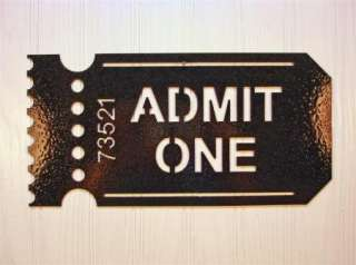 Metal Wall Art Home Theater Decor Admit One Ticket