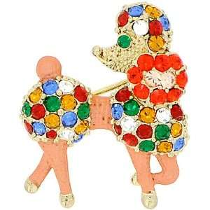 Colorized Poodle Dog Swarovski Crystal Animal pin brooch