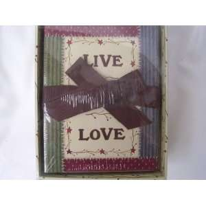 Stationery Note Card Set of 16 Cards & Envelopes ; Live, Laugh, Love