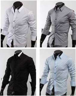 NEW Mens Casual Slim Fit Stylish Dress Shirts h09 M XL
