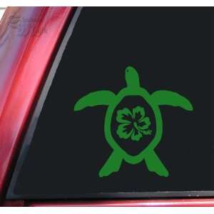 Hibiscus Honu Hawaiian Sea Turtle Vinyl Decal Sticker