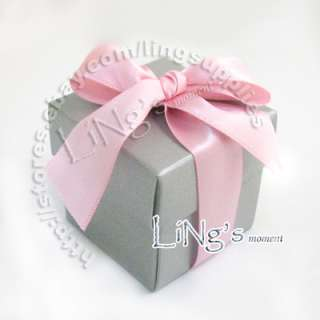 100 5cm Silver 2pc Favour Gift Box Wedding Party Shower