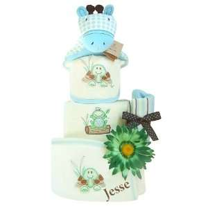 Organic Personalized Love Me Tender   Baby Boy Diaper Cake Baby