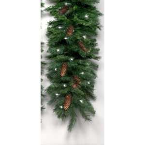 16 Pre Lit Cheyenne Pine With Cones Christmas Garland   Clear