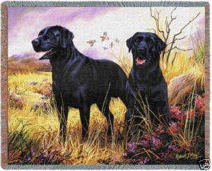 70x53 Black LAB LABRADOR Dog Jacquard Throw Blanket