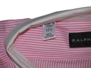 265 NWT RALPH LAUREN BLACK LABEL MENS PINK STRIPED FRENCH CUFF DRESS