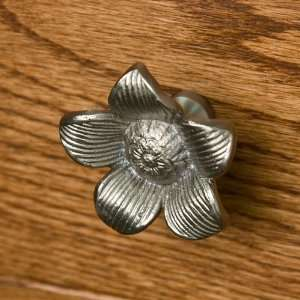 Solid Brass Starflower Cabinet Knob   Brushed Nickel
