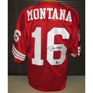 Signed Joe Montana Uniform   Red Custom Throwback