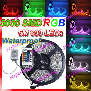 5M 300 LED Waterproof 5050 RGB SMD Flexible Lamp Light Strip + 24 Key