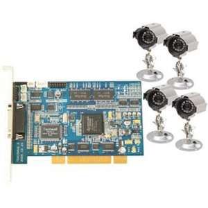 Q See 4 Channel H.264 Real Time PCI DVR Card with 4 CCD Color