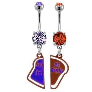 and Orange Prong Set Navel/Belly Ring Best Friends on a Lice of Bread