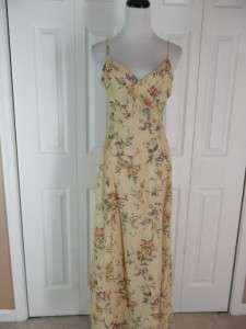 Laundry Shelli Segal Size 8 Long Floral Sleeveless Dress V Neck Rayon
