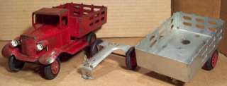 ANTIQUE GIRARD TOYS MARX LIGHTED STAKE TRUCK & TRAILER
