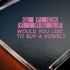 Buy A Vowel Pink Decal Funny Car Truck Window Pink Sticker