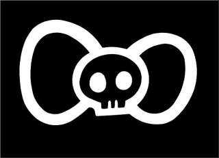 Hello Kitty Bow with Skull Skeleton Vinyl Window Car Decal Sticker