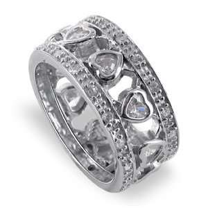 Silver Band Hearts Cubic Zirconia With Accents Ring Size 6