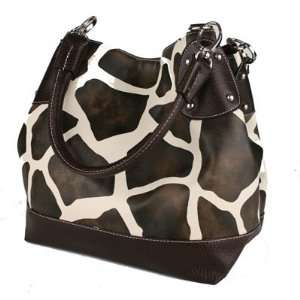 NEW Giraffe Print Designer Tote Handbag   Brown Trim