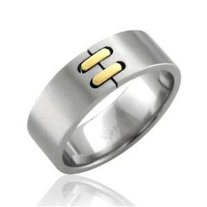 Mens 18k Gold and Stainless Steel Band Ring Width 8mm