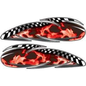 Real Fire Red Custom Motorcycle Gas Tank Graphics Automotive