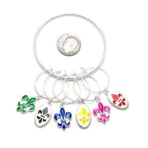 Wine Glass Charms Set of 6 ( Green, Black, Blue, Yellow, Pink, Red