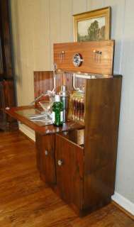 Antique English Art Deco BAR~ LIQUOR Wine CABINET Fitted
