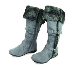 New Fashion Womens Winter Buckle Flat Casual Tall Boots Shoes  Bio
