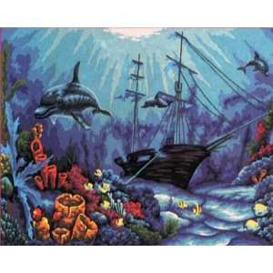 SHIPWRECK IN THE SEA NEEDLEPOINT CANVAS Arts, Crafts
