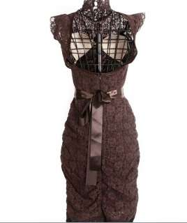 Brown lace sexy backless dress turtle neck party evening dress club