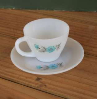 Fire King White Cup & Saucer Set Blue Orange Flowers