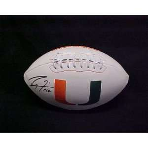 Lewis Hand Signed Autographed Miami Hurricanes Full Size Football w