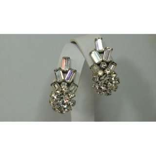 Vtg Runway Style Ice Crystal Rhinestone Baguette Clip Earrings Crown