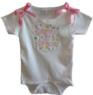 Personalized Infant Baby Girl White Onesie, Birthday Design with Pink