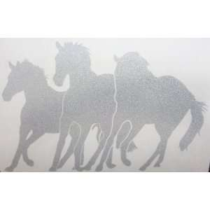 Med Silver Glitter Wild Mustang Horse Trio Car Window