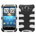 Solid Ivory White/Black Fishbone Phone Protector Cover Case for HTC