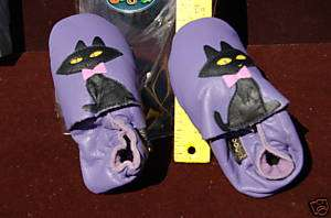 Leather Baby Shoes Extra Large Purple Cat New MUST SEE