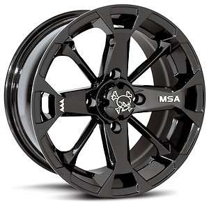 MSA Elixir ATV Wheels/Rims Black 14 Polaris Sportsman RZR Ranger (4