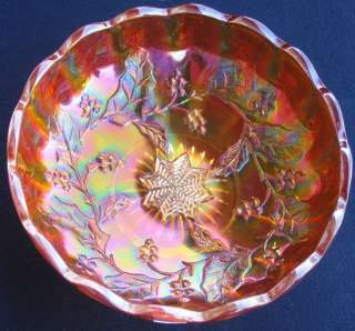 MILLERSBURG HOLLY WREATH 8 POINT STAR MARIGOLD CARNIVAL GLASS ROUND