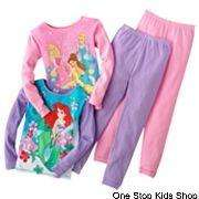 DISNEY PRINCESS or LITTLE MERMAID 4 6 8 Pjs Set PAJAMAS Shirt Pants